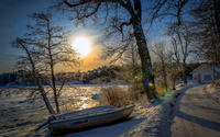 Winter by the lake wallpaper 2560x1600 jpg
