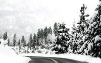 Winter road through the mountains wallpaper 1920x1200 jpg
