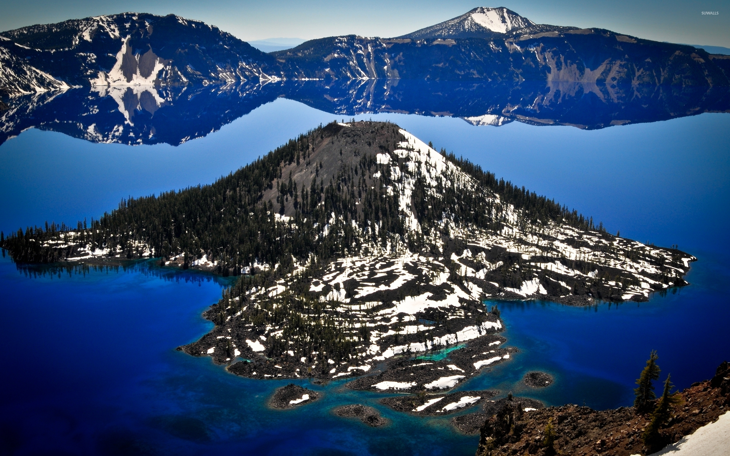 wizard island in crater lake wallpaper - nature wallpapers - #52427