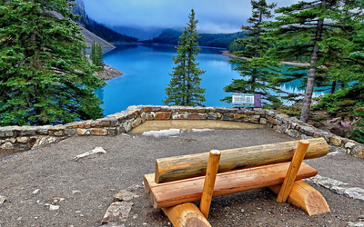 Wooden bench on the lake shore wallpaper