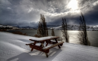 Wooden bench on the waterside wallpaper 2560x1600 jpg