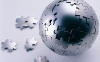 3D metallic puzzle on an orb wallpaper 1920x1200 jpg
