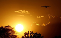 Airplane silhouette in the sunset wallpaper 1920x1200 jpg