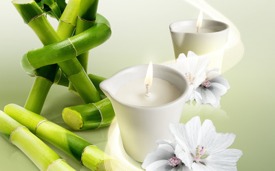 Bamboo and candles wallpaper