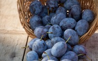 Basket of fresh plums wallpaper 2880x1800 jpg