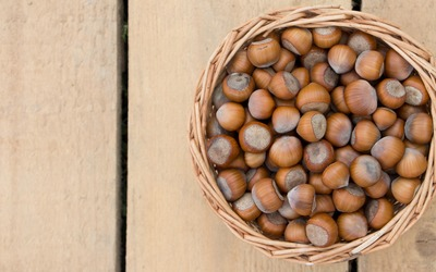 Basket of hazelnuts on wooden panels wallpaper