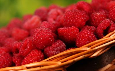 Basket of raspberries Wallpaper