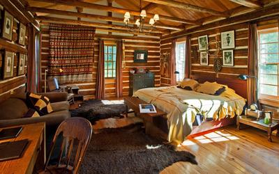 Bedroom in a wooden hut wallpaper