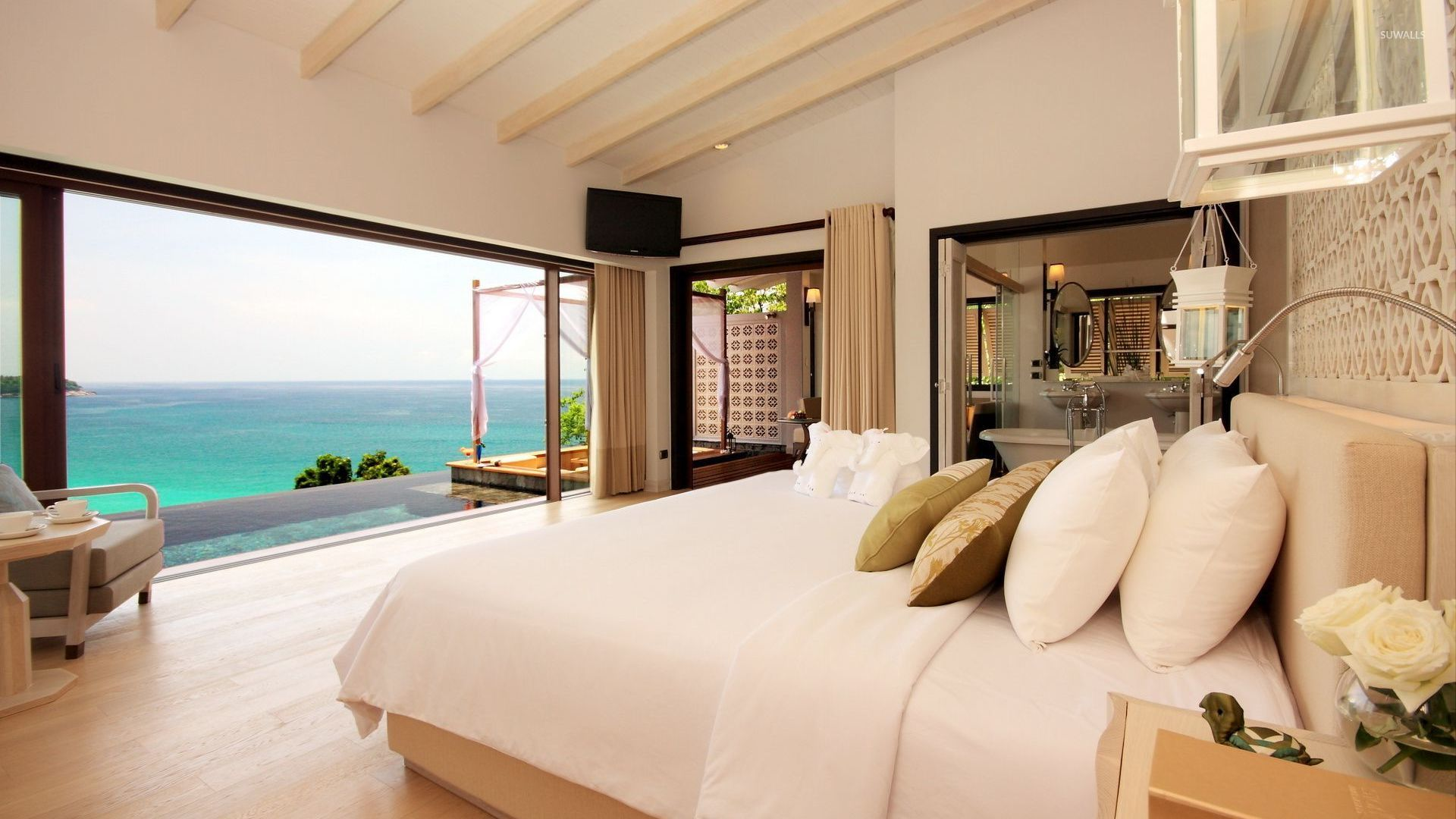 Bedroom with a great view of the ocean wallpaper for Nice bedrooms