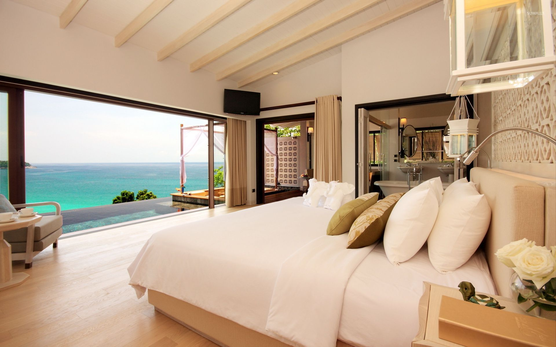 Bedroom with a great view of the ocean wallpaper for Stunning bedroom wallpaper