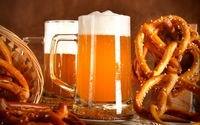 Beer and pretzels wallpaper 2560x1600 jpg