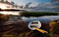 Boat on the lake at sunset wallpaper 2560x1600 jpg