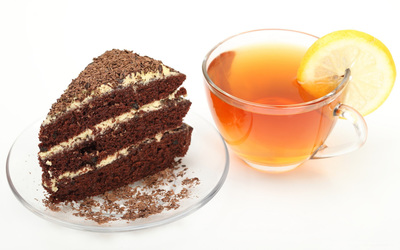 Cake and tea wallpaper