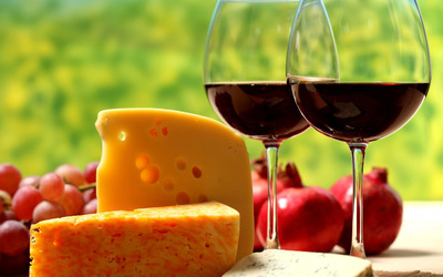 Cheese and wine wallpaper