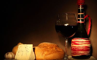 Cheese, bread and wine Wallpaper
