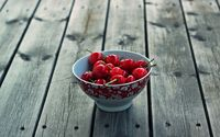 Cherries in a bowl on a wooden table wallpaper 1920x1200 jpg