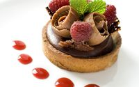 Chocolate and raspberry tart wallpaper 1920x1200 jpg