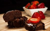 Chocolate cake and strawberries wallpaper 2560x1600 jpg