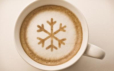 Coffee art snowflake wallpaper
