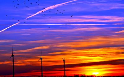 Colorful sunset over the wind turbines wallpaper