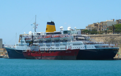 Container ship and a cruise ship wallpaper