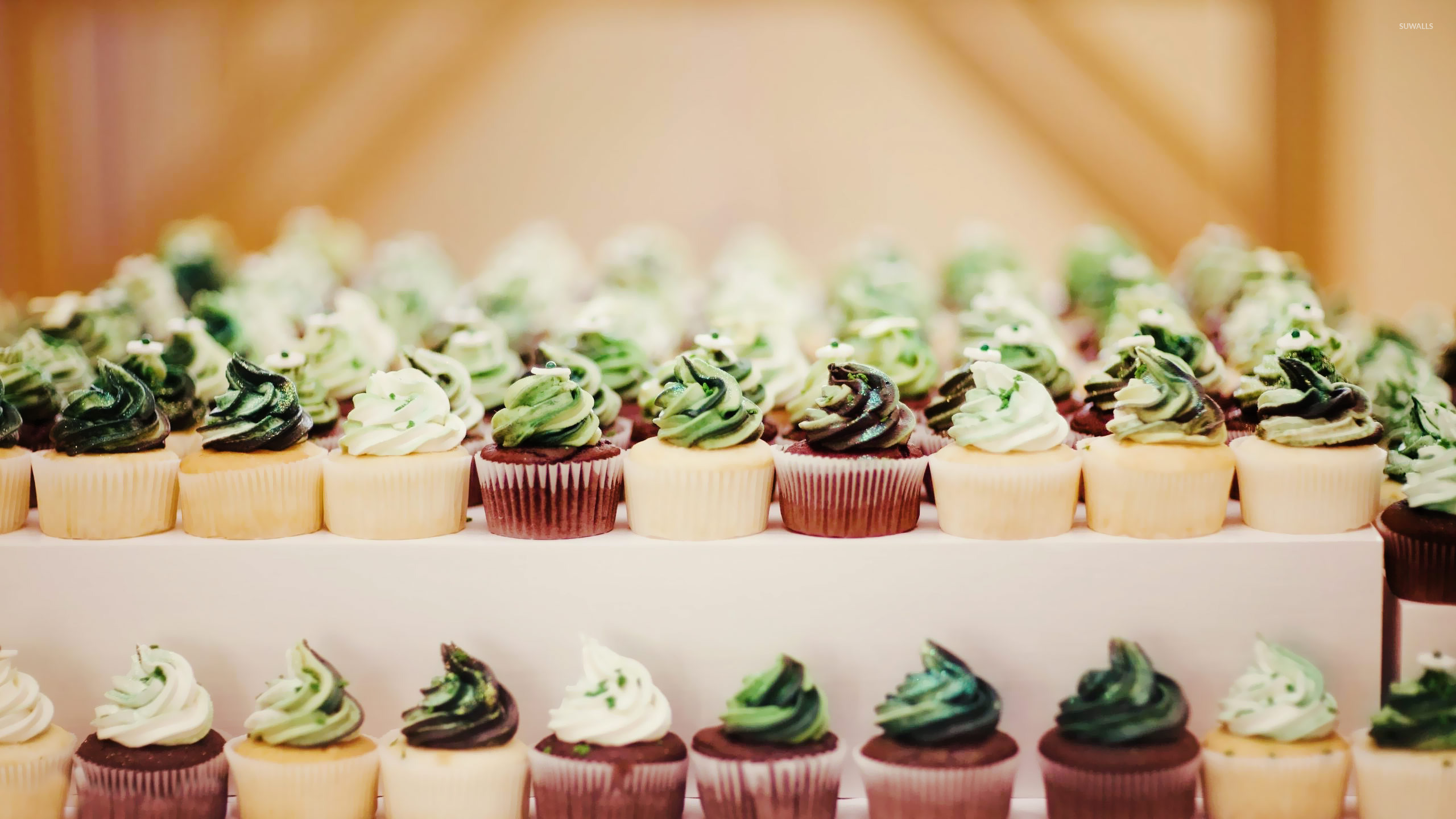 Colorful cupcakes on the pancakes wallpaper Photography