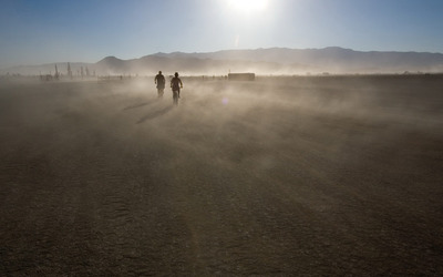 Cycling in desert wallpaper