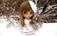 Doll dressed in white by a frozen tree wallpaper 1920x1200 jpg