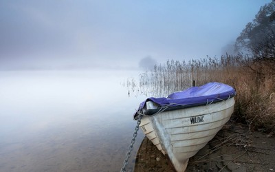 Fishing boat on a foggy lake wallpaper