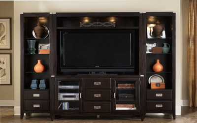Flat TV in an antique cabinet wallpaper