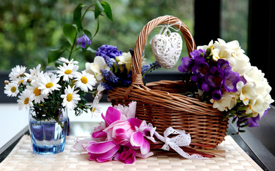 Flower basket wallpaper