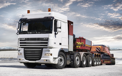Front view of a white DAF XF wallpaper