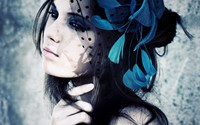Girl with black and blue headpiece wallpaper 1920x1200 jpg