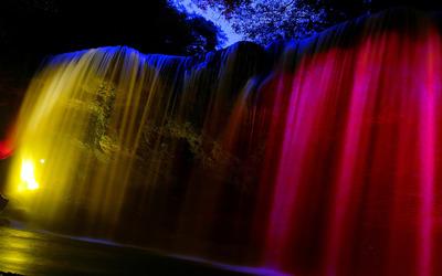 Glowing waterfall wallpaper