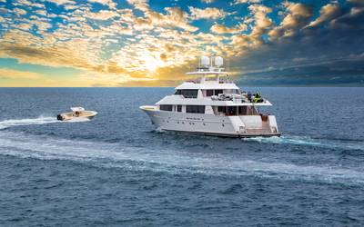 Golden clouds over the yacht wallpaper
