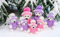 Happy teddy bear family under the snowy pine tree wallpaper 1920x1080 jpg