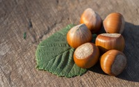 Hazelnuts and leaf on wood wallpaper 3840x2160 jpg