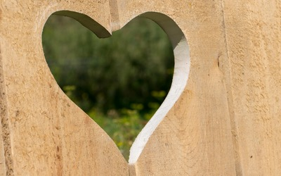 Heart shaped hole in the wood wallpaper