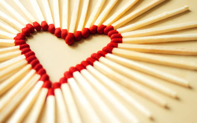 Heart shaped match sticks wallpaper