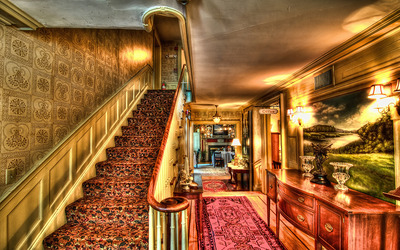 Hotel stairs wallpaper