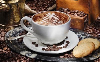 Latte Art on a morning coffee wallpaper