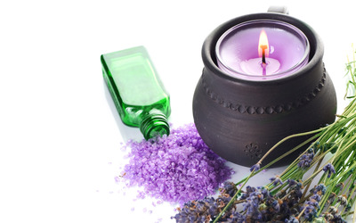 Lavander and candle wallpaper