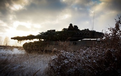 Leopard 2 tank hidden in the bushes wallpaper