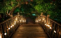 Lit stairs through the tropical resort wallpaper 3840x2160 jpg