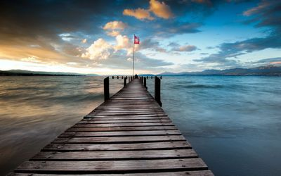 Long pier on the sea wallpaper