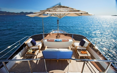 Luxurious yacht deck wallpaper