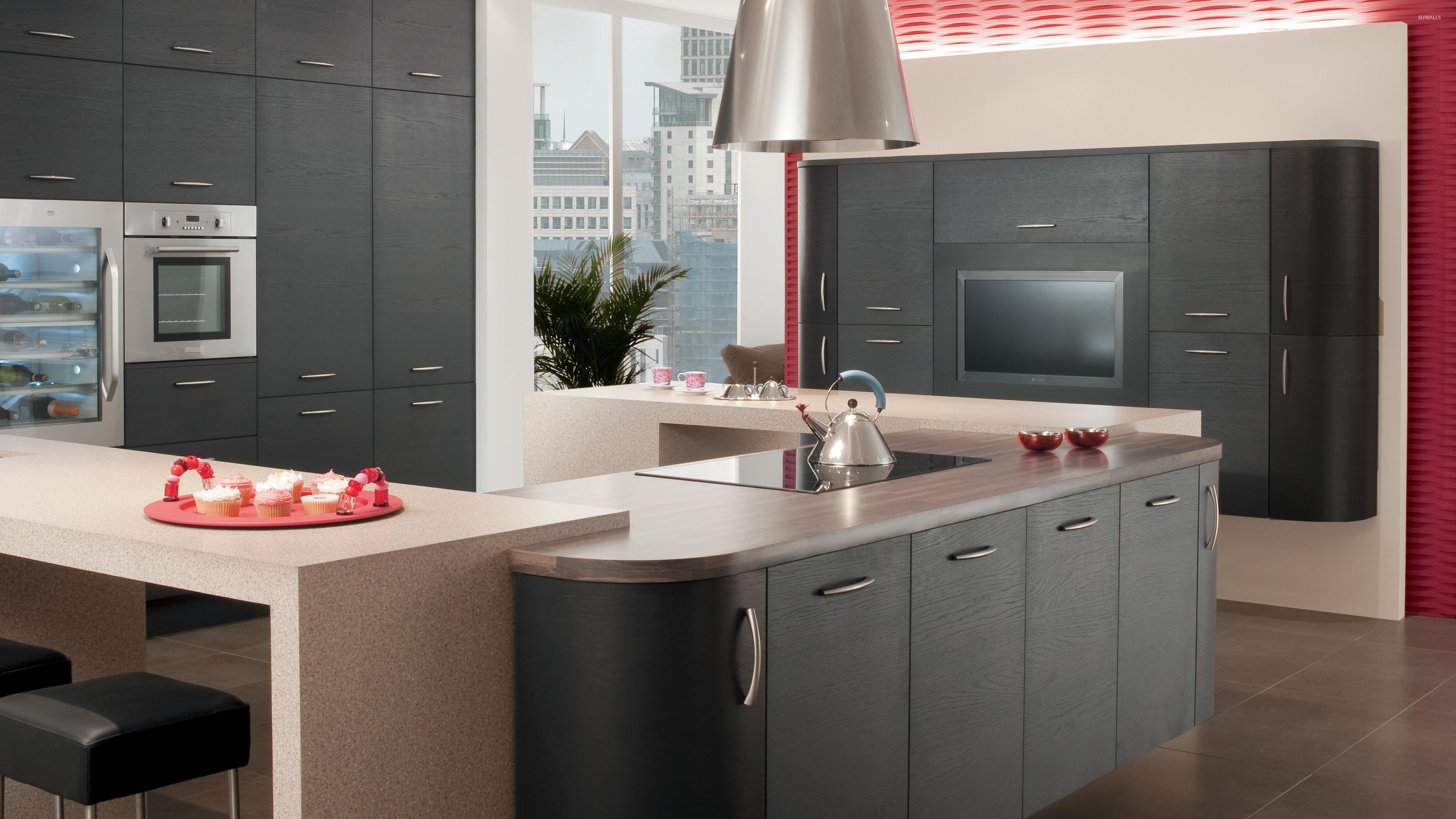 Minimalistic gray kitchen design wallpaper photography for Grey kitchen wallpaper
