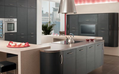 Minimalistic gray kitchen design wallpaper