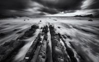 Mist among rocks at shore wallpaper 2880x1800 jpg