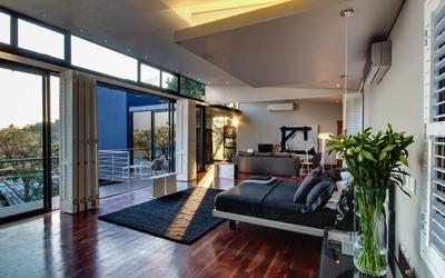 Modern bedroom with an amazing view wallpaper